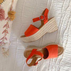 Orange Rope Platform Wedge Espadrilles Sandals